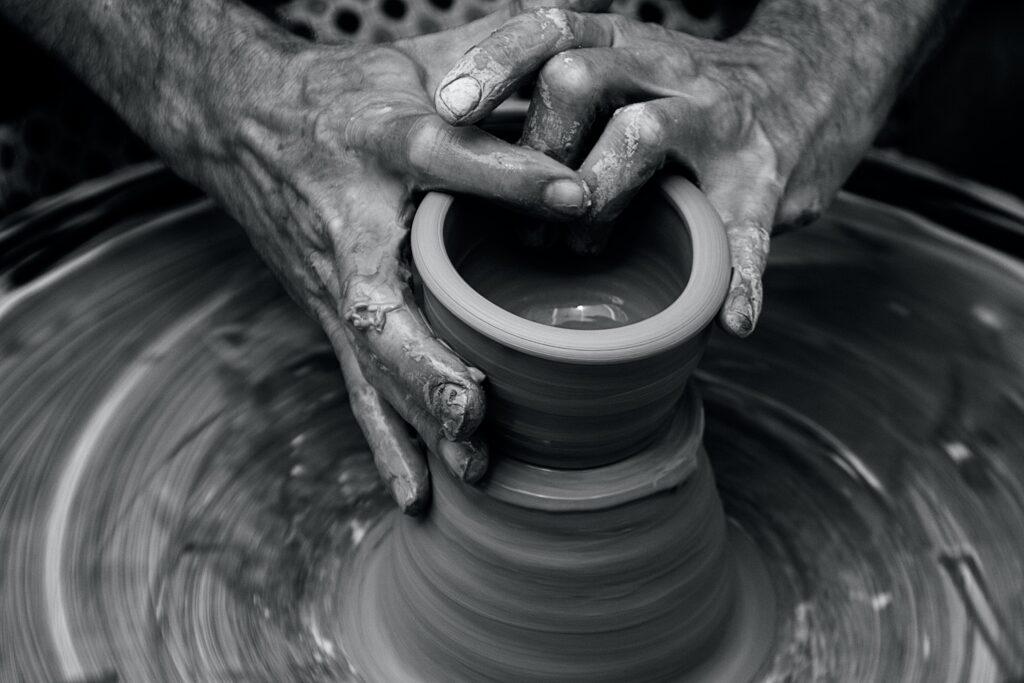 Potter shaping a bowl